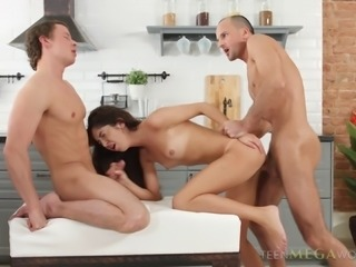 Curly-haired chick and two guys who want her pussy right now