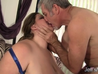 Huge breasted housewife has a horny old man hammering her needy pussy