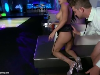 Brunette babe with great ass Amia Miley banged at the club