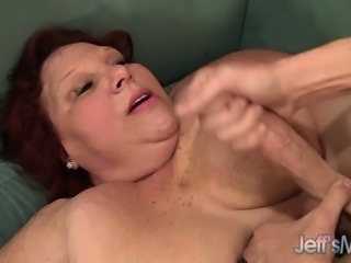 Chunky redhead mature has a younger man hammering her aching snatch