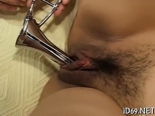 Wicked beauty from asia fondles man and sucks his dick