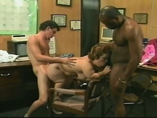 Busty brunette midget invites two hung guys to drill her aching snatch