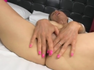 Pink high heels make the tit fondling granny look sexy