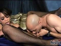 Lusty bitch has her tight pussy slammed
