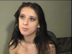 Juicy brunette webcam vixen strips and masturbates for money
