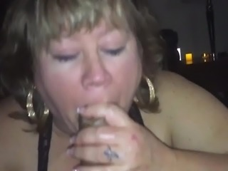 Blowjob while her boyfriend watches