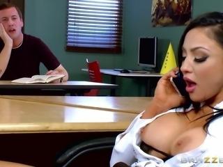 Fantastic big fake tits on this slut fucking in a classroom