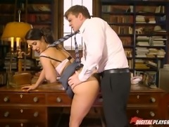 Hottie Eva Lovia seduces her man spreading legs wide open while sitting on...