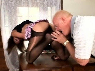 Stocky and bald stud gets his foot fetish fantasies fulfilled by lithe vixen...
