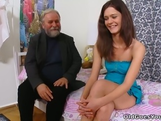 This nasty brunette lets her old perverted professor eat her snatch