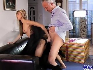 Petite ballerina buttfucked in threeway