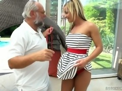 Sensual blonde Angelina Julie fucks older man in the poolside