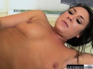 Sexy young Kylie Kalvetti gets her pretty mouth filled with sticky cum