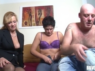 Vibrant old man with a piercing on his cock shows what he does to his two wives