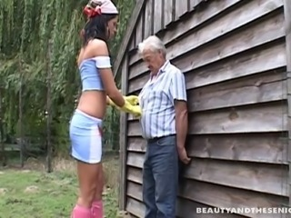 An old man convincing a teen girl to have sex with him