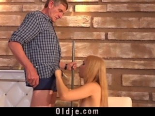 Old man likes to fuck blonde tight young pussy