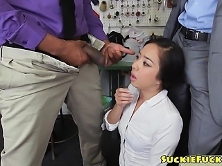 Throated Jap babe cumswallows big black cocks