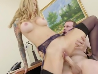 Horny MILF Boss Sarah Exploits Her Employee for Sex