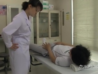 school nurse giving a great hand blowjob