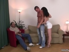 Old husband watching his wife riding another cock