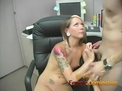 Skinny office slut dominates her co-worker's hard cock