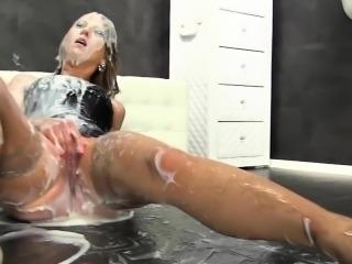 Hot bukkake whore toying