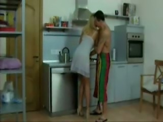 Sexy time in the kitchen with my brother's hot blonde wife