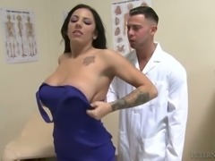 Busty brunette bimbo visits doctor and lets him fuck her between tits