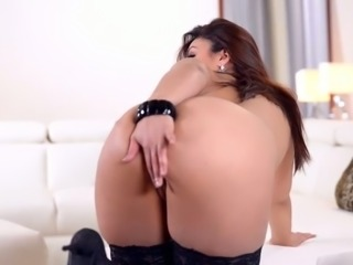Impressively gorgeous brunette with big boobies and nice ass goes solo