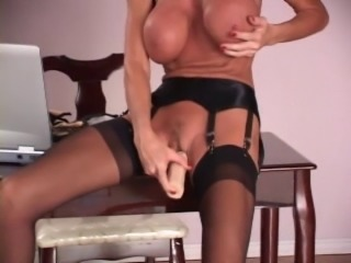 Mature sexy body secretary Stockings heels and dildo