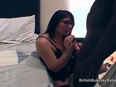 Housewives in black lingerie take oral cum