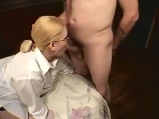 Chubby blonde sucks and gets facial.