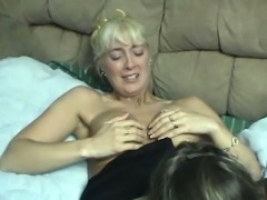 Seductive lesbo MILFs in sexy lingerie lick pussies in bed
