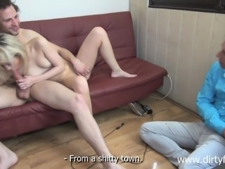 Cheating guy watches his girlfriend getting pounded by another dude