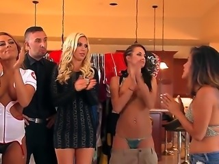 Group of women gathers around a guy and they all have an orgy. It is an all star group sex video with some fine round asses jumping around.
