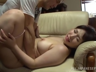 Bubbly Asian wife with big tits gets her hairy twat fingered then throbbed hardcore