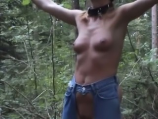 Just playing with my freaky blonde wife in the woods