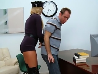 Luscious blonde cop with big hooters impales herself on a long stick