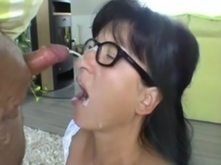 Mature brunette in glasses (cum)
