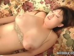 Hairy cunt of super busty Japanese MILF Sakura Kawamine gets fucked doggy