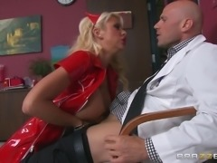 Beautiful Leather-Clad Nurse With A Hot Body Enjoying A Hardcore Doggy Style...