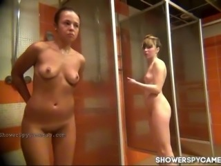 Random women get caught taking shower in a public shower