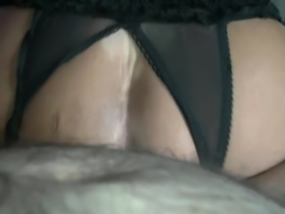 riding a cunt-dripping creampie close up