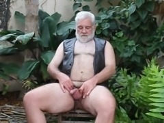 Big polar bear jerking outdoor