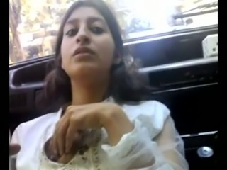 Indian teen sweetheart in the car is fed with a dick