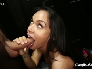 Gloryhole Secrets Emily swallows cum from strangers at a gloryhole