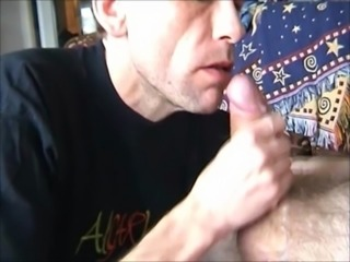 Older swedish cocksuckers treating an older man's big cock