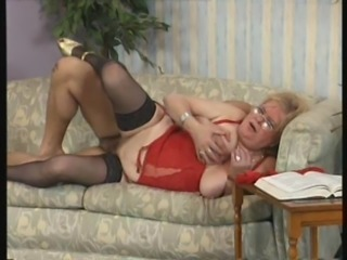 Blonde granny Elvira in hot lingerie sucks a cock and screws hard