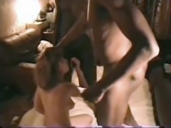 Gorgeous submissive french wife obeys hubby to suck 2 bbc
