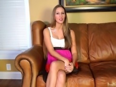 Hot girl fingering her pussy on casting couch